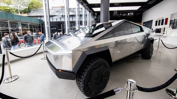 Tesla's Cybertruck is displayed at Manhattan's Meatpacking District in New York City. (REUTERS)