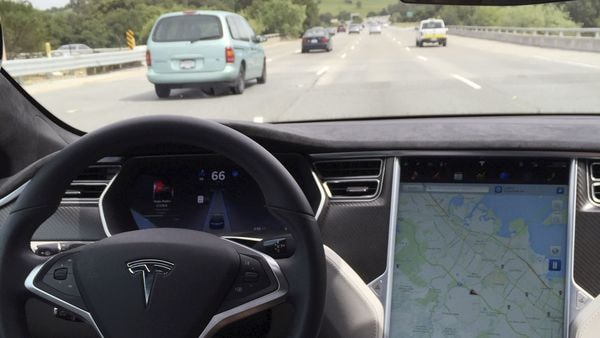 The interior of a Tesla Model S is shown in autopilot mode. (File Photo) (REUTERS)