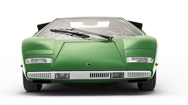 Low and wide front view of the Lamborghini Countach