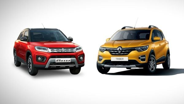 Renault Triber (right) secured a four-star rating in the Global NCAP crash tests, becoming the eighth safest car in India, and edged out Vitara Brezza (left), Maruti's only car in the list.