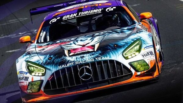 Mercedes-AMG GT3 racing car with one-off livery created in collaboration with Palace