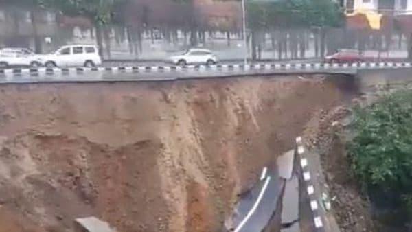 The damaged part of the NH 415 in Arunachal Pradesh. (Image: Twitter/Hindustan Times)