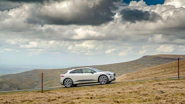 Jaguar I-Pace climbing the Great Dun Fell in Britain