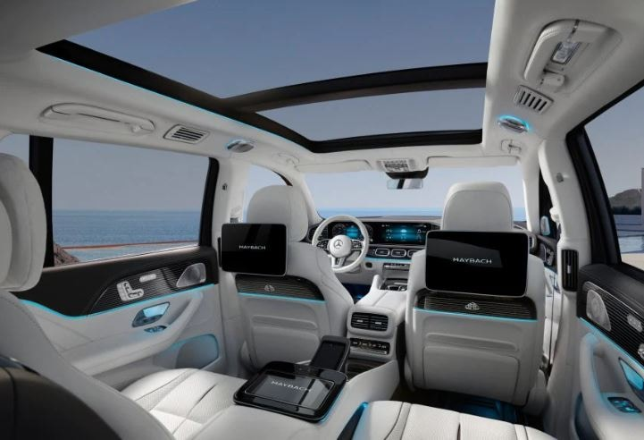 The ultra opulent cabin of Mercedes GLS Maybach.