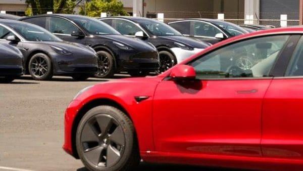 File photo of Tesla EVs. (AP)