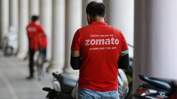 FILE PHOTO: A delivery worker of Zomato (MAR)