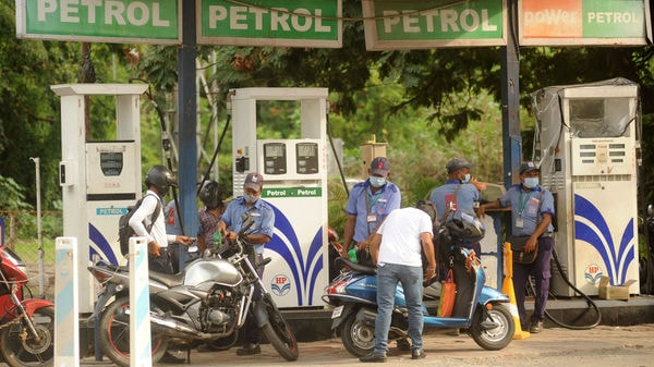Sri Ganganagar district of Rajasthan registered the highest price for a litre of petrol on Sunday at ₹105.33. (Photo by Vijay Bate/HT Photo)