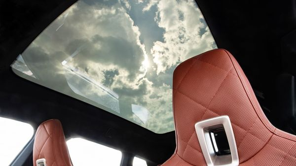 The overhead sunroof in the electric vehicle gives it a more spacious feel. (BMW)