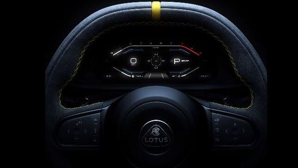 Sporty steering wheel of the Lotus Emira
