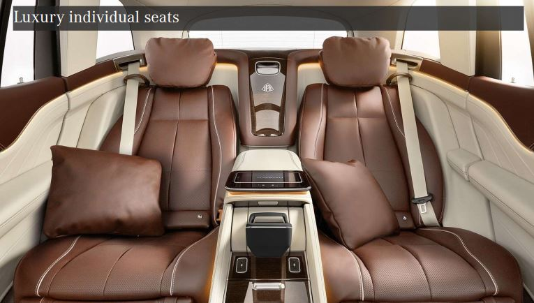 Maybach GLS 600 is seen here in the four-seat setup.