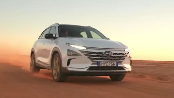 The Hyundai Nexo model which had set a record for the longest journey covered on a single tank of zero-emission hydrogen.