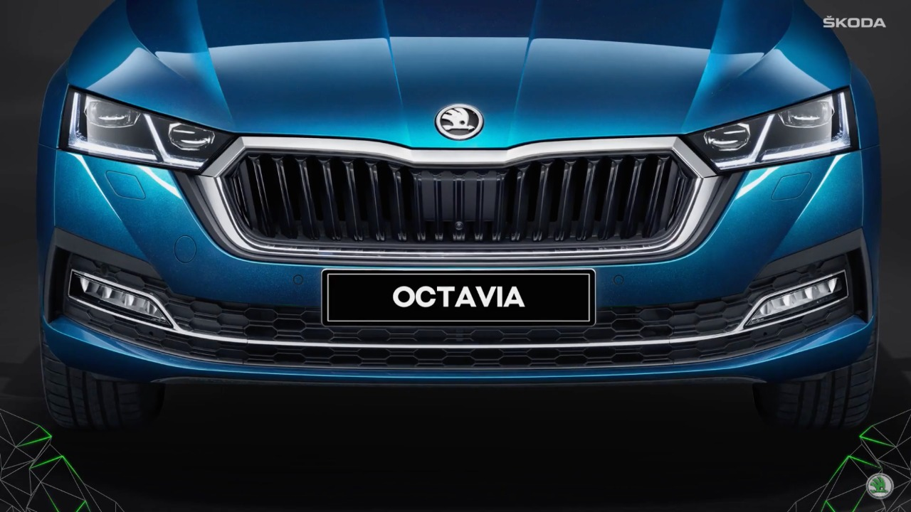 2021 Skoda Octavia grille bears resemblance to the characteristic Skoda grille but gets chrome treatment for a more premium look. The chrome treatment can also be seen under the grille which connects the fog lamp casing. The grille is flanked by bi-LED headlights.