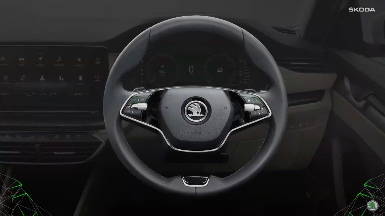 The interior of the 2021 Skoda Octavia gets dual-tone treatment with suede and leather beige upholstery. There is a two-spoke steering wheel, ambient lighting, two-zone climate control system, among others.