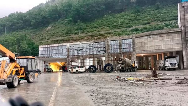 Work in progress at the tunnel linking Banihal and Qazigund along the Jammu-Srinagar national highway. (File Photo) (PTI)