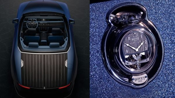 Rolls-Royce Boat Tail (L) and the Bovet 1822 timepiece for the vehicle