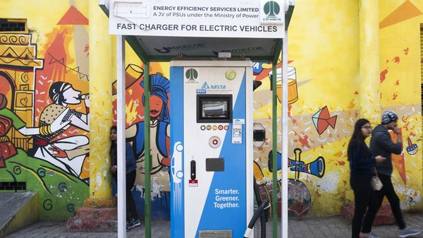 A Delta EV charging station at Connaught Place in New Delhi. (File photo) (Bloomberg)