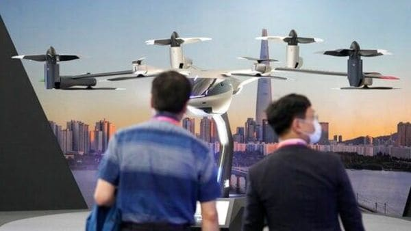 A model of Hyundai Motor Company's urban air mobility S-A1 at the Seoul Smart Mobility Expo in South Korea. (File photo) (AP)