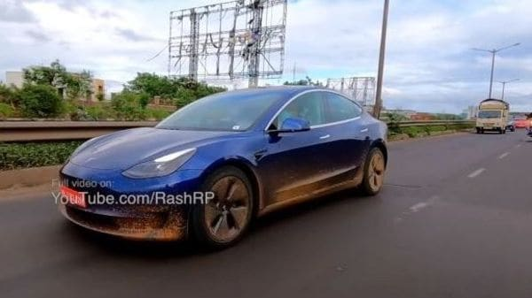 Tesla imported three Model 3 sedans in India for testing, validation and homologation purposes. (Image: Youtube/The Fat Biker)