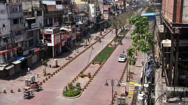 A deserted view of Chandni Chowk market in Delhi during lockdown. (File Photo)
