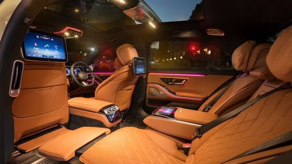Rear of the new S-Class comes with ample comfort and functionalities. Rear passengers get leg-rest, a tablet in the central armrest at the back and two more screens behind the front seats for entertainment. Both front and rear passengers get massage options.