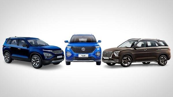 Tata Safari (l), Hector Plus and Hyunai Alcazar (r) will fight for attention in the three-row SUV space.