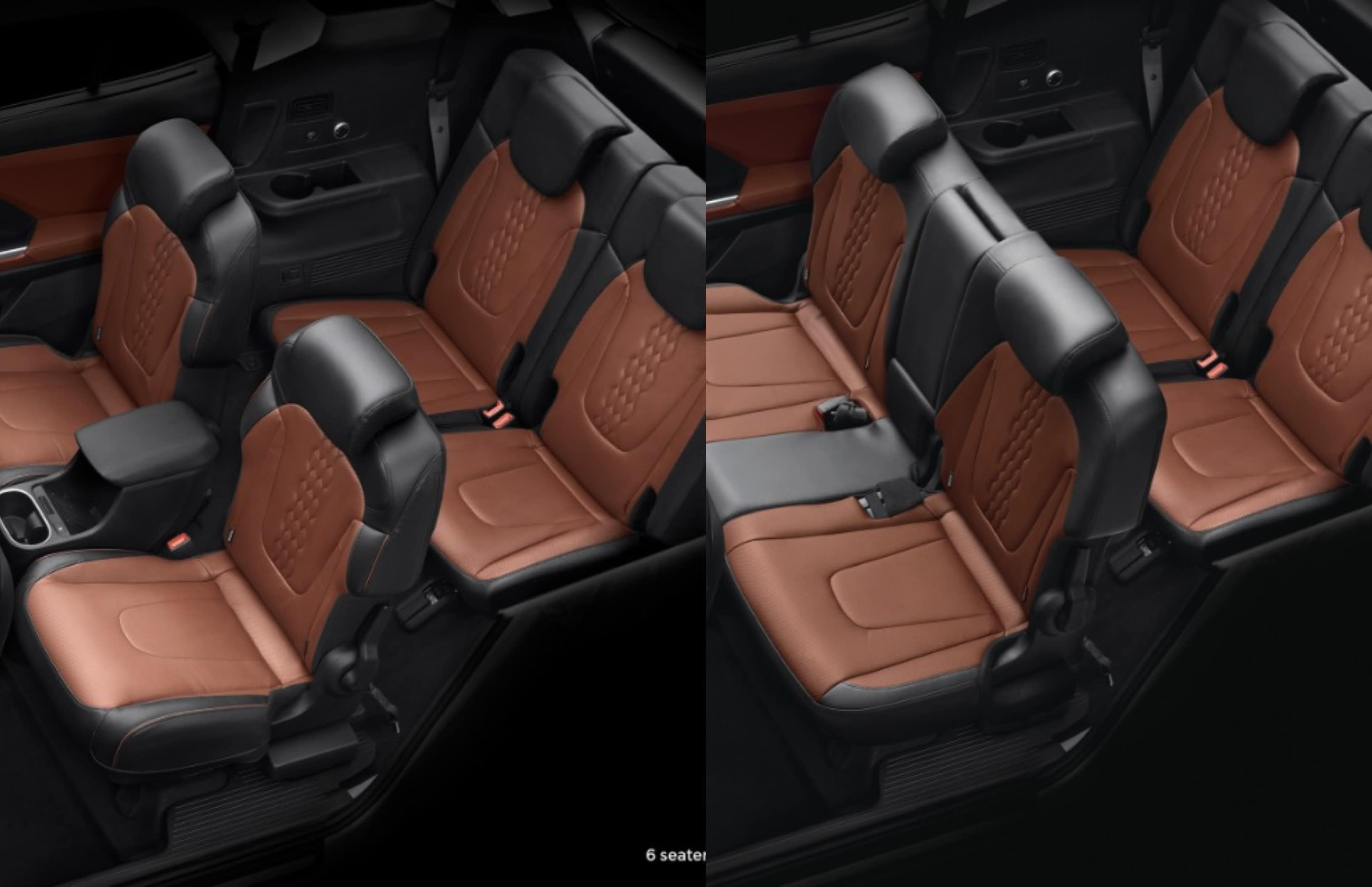 Hyundai Alcazar will be offered in six-seat (L) and seven-seat (R) layouts. In the former, the SUV will get Captain seats in the middle row, complete with dedicated storage space, cupholders and even charging points.