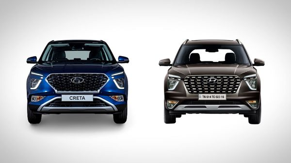 Placed side by side, the similarities between the facelift 2022 Creta and the new Alcazar are prominent. Both get the traditional Hyundai hexagonal grille. The pattern on the grille is also similar. Alcazar will carry the same LED headlight seen in Creta.
