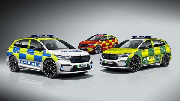 Skoda Enyaq iV electric SUV's emergency version comes available in three variants - police, fire service and ambulance.