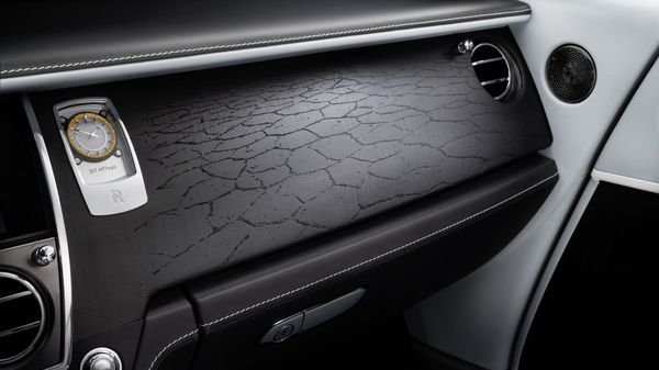 The Bonneville Salt Flats have tiny fissures and this distinctive texture has been reproduced in the wooden veneer of the collection's fascia and console lids. It was digitally retraced from the surface itself. (Rolls-Royce)