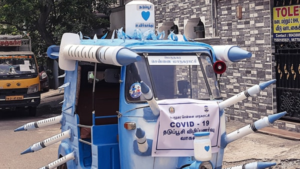 Auto-rickshaw designed to encourage people to get vaccinated in Chennai. (Image credit: B. Gowtham)
