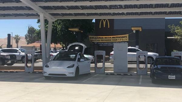 A Tesla charging station in California, US. (Image credit: @Dunne_ZoZoGo/Twitter)