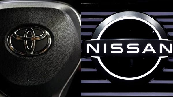 Logo of Toyota (L) and Nissan (R)