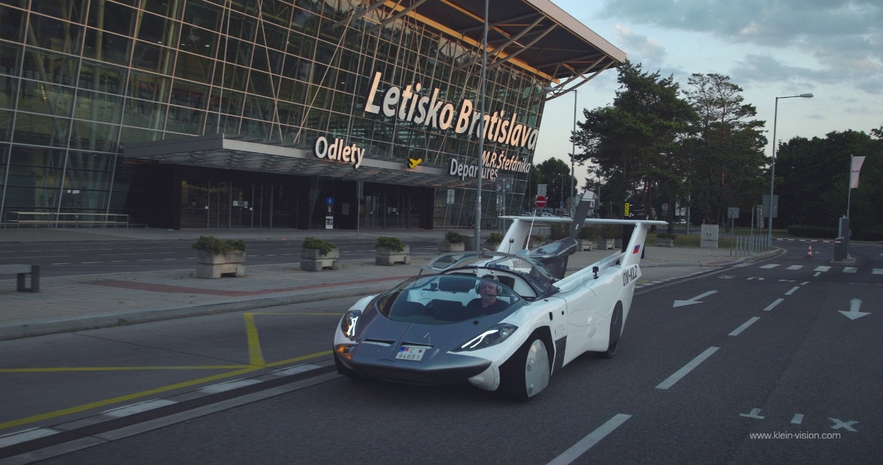 The flying car is actually a sportscar.