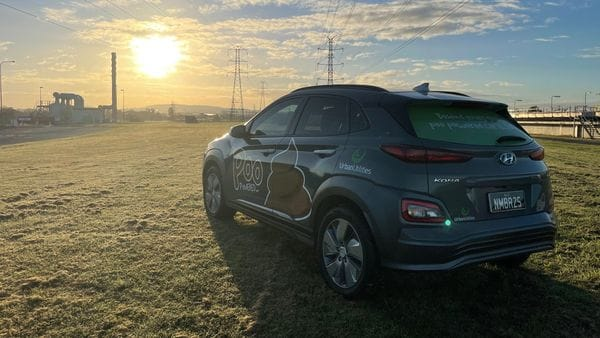 This Hyundai Kona Electric takes power from human waste byproduct. (Image: Urban Utilities)