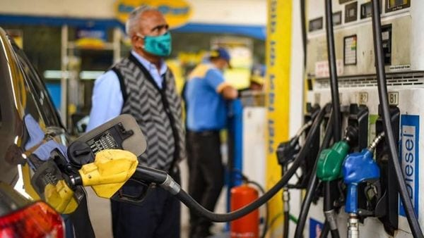The highest fuel rates have been recorded in Rajasthan's Ganganagar where pumps are selling petrol at ₹110.77 per litre. (Amal KS/HT PHOTO) (HT_PRINT)