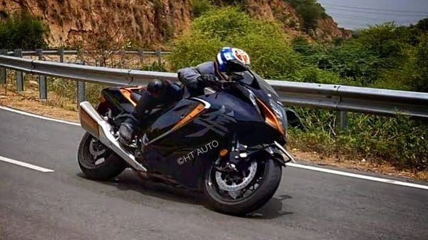 The 2022 Hayabusa comes powered by a 1,340cc, inline four-cylinder, liquid-cooled engine which is now compliant with the Euro 5 emission norms, equivalent of BS 6 in India. (HT Auto/Sabyasachi Dasgupta)