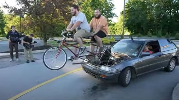 Bicycle-powered car. (Image credits: Screengrab of a video posted on YouTube by Life OD)