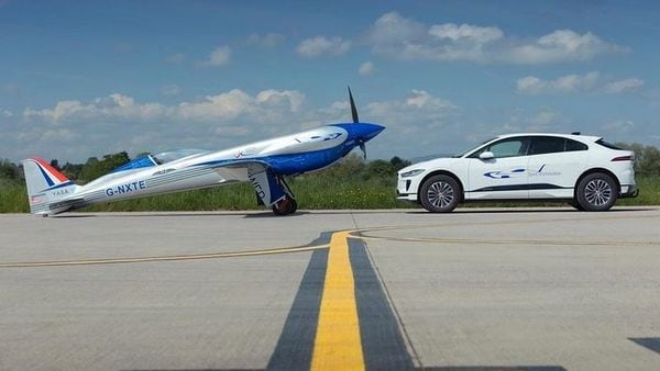 Rolls-Royce's Spirit of Innovation all-electric plane (L) and Jaguar I-Pace electric car.