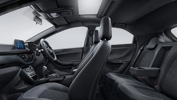 On the inside, Nexon Dark makes use of a dark interior pack and has premium leatherette upholstery with Tri-arrow perforations on seats and door trim. The Dark embroidery finds its way on the headrests here as well.