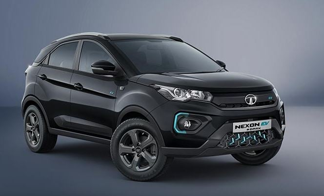 The Nexon EV Dark has been priced at <span class='webrupee'>₹</span>15.99 lakh (ex-showroom, Delhi). It gets a premium Midnight Black exterior colour with Satin Black humanity line and beltline. Charcoal grey alloy wheels and Dark mascot are the other highlights here.