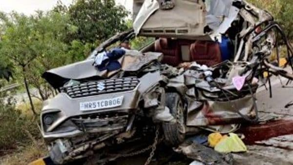 File photo of the remains of a car after being involved in an accident on Yamuna Expressway. (ANI photo)