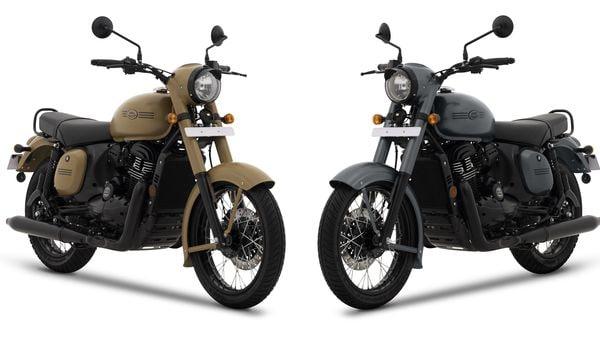 Jawa Khakhi (L) and Jawa Midnight Grey motorcycles