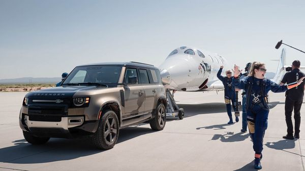 Land Rover Defender providing ground support to Virgin Galactic