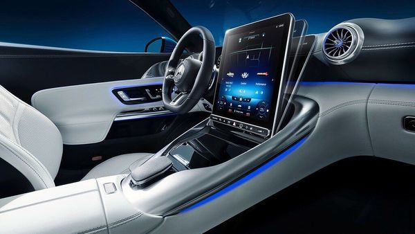 Photo: Adjustable touchscreen inside the new Mercedes-AMG SL