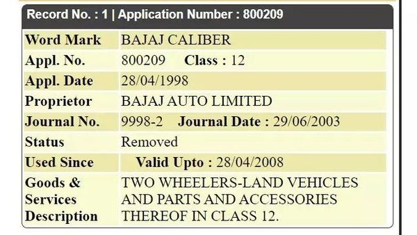 Bajaj Auto might be planning to re-introduce the Caliber brand in India, suggests patent image.