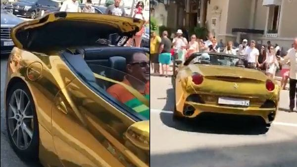 Anand Mahindra shared a video on social media of a Ferrari supercar wrapped in shiny gold coating. (Photo courtesy: Twitter/@anandmahindra)