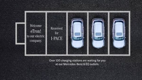 Mercedes-Benz India twitter handle posted this welcome message for Audi e-tron.