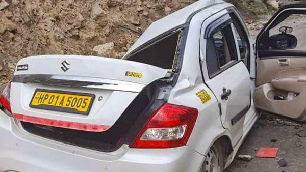 A damaged car after a landslide at Batseri of Sangla valley in Kinnaur district. (PTI)