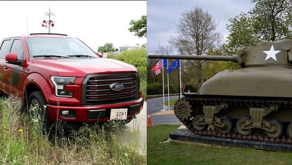 Images of a Ford F-150 (left) and a Sherman battle tank used for representational purpose.