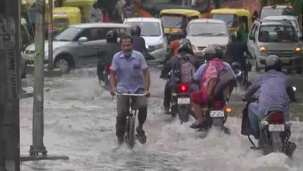 Another waterlogged street in South Delhi's Alaknanda area amid heavy rainfall on Tuesday morning. (ANI)